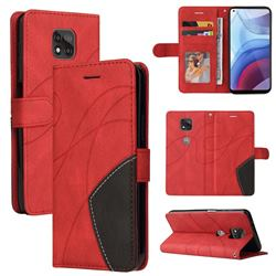 Luxury Two-color Stitching Leather Wallet Case Cover for Motorola Moto G Power 2021 - Red