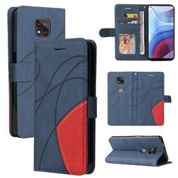 Luxury Two-color Stitching Leather Wallet Case Cover for Motorola Moto G Power 2021 - Blue
