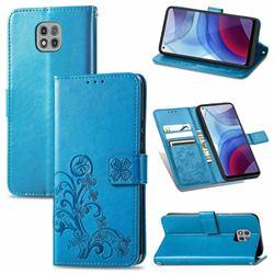 Embossing Imprint Four-Leaf Clover Leather Wallet Case for Motorola Moto G Power 2021 - Blue