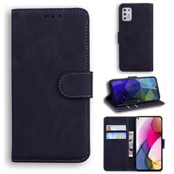 Retro Classic Skin Feel Leather Wallet Phone Case for Motorola Moto G Stylus 2021 - Black
