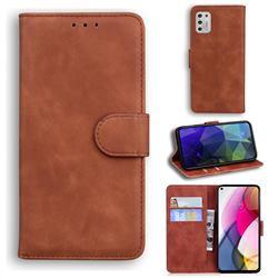 Retro Classic Skin Feel Leather Wallet Phone Case for Motorola Moto G Stylus 2021 - Brown