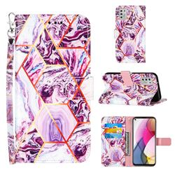 Dream Purple Stitching Color Marble Leather Wallet Case for Motorola Moto G Stylus 2021
