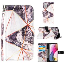 Black and White Stitching Color Marble Leather Wallet Case for Motorola Moto G Stylus 2021