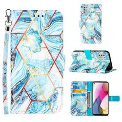 Lake Blue Stitching Color Marble Leather Wallet Case for Motorola Moto G Stylus 2021