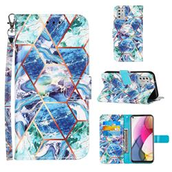 Green and Blue Stitching Color Marble Leather Wallet Case for Motorola Moto G Stylus 2021