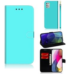 Shining Mirror Like Surface Leather Wallet Case for Motorola Moto G Stylus 2021 - Mint Green
