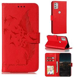 Intricate Embossing Lychee Feather Bird Leather Wallet Case for Motorola Moto G Stylus 2021 - Red