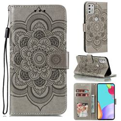 Intricate Embossing Datura Solar Leather Wallet Case for Motorola Moto G Stylus 2021 - Gray