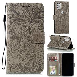 Intricate Embossing Lace Jasmine Flower Leather Wallet Case for Motorola Moto G Stylus 2021 - Gray
