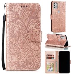 Intricate Embossing Lace Jasmine Flower Leather Wallet Case for Motorola Moto G Stylus 2021 - Rose Gold