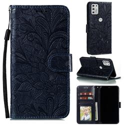 Intricate Embossing Lace Jasmine Flower Leather Wallet Case for Motorola Moto G Stylus 2021 - Dark Blue