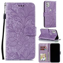 Intricate Embossing Lace Jasmine Flower Leather Wallet Case for Motorola Moto G Stylus 2021 - Purple