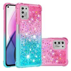 Rainbow Gradient Liquid Glitter Quicksand Sequins Phone Case for Motorola Moto G Stylus 2021 - Pink Blue