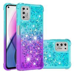 Rainbow Gradient Liquid Glitter Quicksand Sequins Phone Case for Motorola Moto G Stylus 2021 - Blue Purple