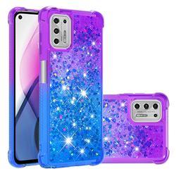 Rainbow Gradient Liquid Glitter Quicksand Sequins Phone Case for Motorola Moto G Stylus 2021 - Purple Blue