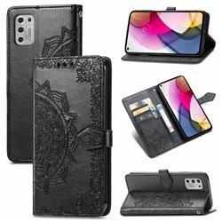 Embossing Imprint Mandala Flower Leather Wallet Case for Motorola Moto G Stylus 2021 4G - Black