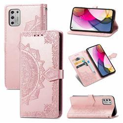 Embossing Imprint Mandala Flower Leather Wallet Case for Motorola Moto G Stylus 2021 4G - Rose Gold