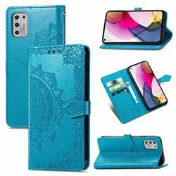 Embossing Imprint Mandala Flower Leather Wallet Case for Motorola Moto G Stylus 2021 4G - Blue