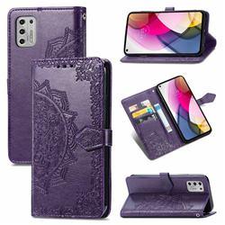 Embossing Imprint Mandala Flower Leather Wallet Case for Motorola Moto G Stylus 2021 4G - Purple