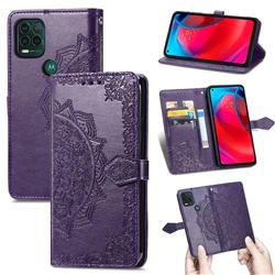 Embossing Imprint Mandala Flower Leather Wallet Case for Motorola Moto G Stylus 2021 5G - Purple
