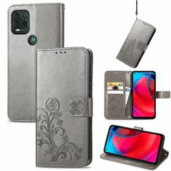 Embossing Imprint Four-Leaf Clover Leather Wallet Case for Motorola Moto G Stylus 2021 5G - Grey