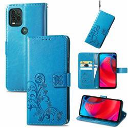 Embossing Imprint Four-Leaf Clover Leather Wallet Case for Motorola Moto G Stylus 2021 5G - Blue