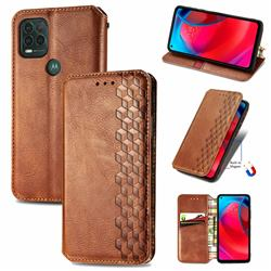Ultra Slim Fashion Business Card Magnetic Automatic Suction Leather Flip Cover for Motorola Moto G Stylus 2021 5G - Brown