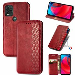 Ultra Slim Fashion Business Card Magnetic Automatic Suction Leather Flip Cover for Motorola Moto G Stylus 2021 5G - Red
