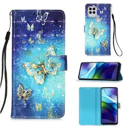 Gold Butterfly 3D Painted Leather Wallet Case for Motorola Moto G Stylus 2021 5G