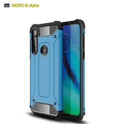King Kong Armor Premium Shockproof Dual Layer Rugged Hard Cover for Motorola Moto G Stylus - Sky Blue