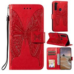 Intricate Embossing Vivid Butterfly Leather Wallet Case for Motorola Moto G Stylus - Red