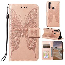 Intricate Embossing Vivid Butterfly Leather Wallet Case for Motorola Moto G Stylus - Rose Gold
