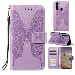 Intricate Embossing Vivid Butterfly Leather Wallet Case for Motorola Moto G Stylus - Purple