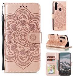 Intricate Embossing Datura Solar Leather Wallet Case for Motorola Moto G Stylus - Rose Gold