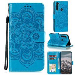 Intricate Embossing Datura Solar Leather Wallet Case for Motorola Moto G Stylus - Blue