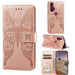Intricate Embossing Rose Flower Butterfly Leather Wallet Case for Motorola Moto G Stylus - Rose Gold