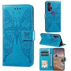 Intricate Embossing Rose Flower Butterfly Leather Wallet Case for Motorola Moto G Stylus - Blue
