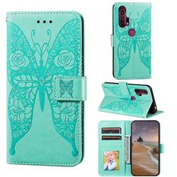 Intricate Embossing Rose Flower Butterfly Leather Wallet Case for Motorola Moto G Stylus - Green