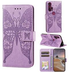 Intricate Embossing Rose Flower Butterfly Leather Wallet Case for Motorola Moto G Stylus - Purple