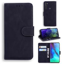 Retro Classic Skin Feel Leather Wallet Phone Case for Motorola Moto G Stylus - Black