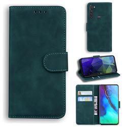 Retro Classic Skin Feel Leather Wallet Phone Case for Motorola Moto G Stylus - Green