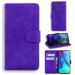 Retro Classic Skin Feel Leather Wallet Phone Case for Motorola Moto G Stylus - Purple