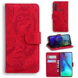 Intricate Embossing Tiger Face Leather Wallet Case for Motorola Moto G Stylus - Red