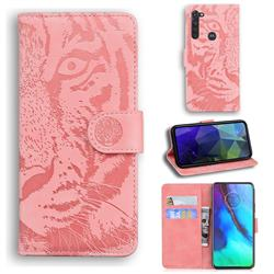 Intricate Embossing Tiger Face Leather Wallet Case for Motorola Moto G Stylus - Pink