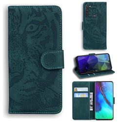 Intricate Embossing Tiger Face Leather Wallet Case for Motorola Moto G Stylus - Green