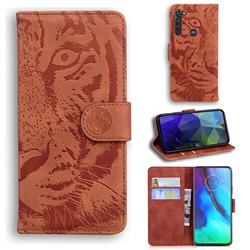 Intricate Embossing Tiger Face Leather Wallet Case for Motorola Moto G Stylus - Brown