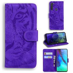 Intricate Embossing Tiger Face Leather Wallet Case for Motorola Moto G Stylus - Purple