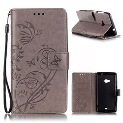 Embossing Butterfly Flower Leather Wallet Case for Microsoft Lumia 535 / Lumia 535 Dual SIM Nokia Lumia 535 - Grey