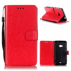 Embossing Butterfly Flower Leather Wallet Case for Microsoft Lumia 535 / Lumia 535 Dual SIM Nokia Lumia 535 - Red
