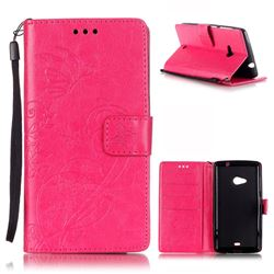 Embossing Butterfly Flower Leather Wallet Case for Microsoft Lumia 535 / Lumia 535 Dual SIM Nokia Lumia 535 - Rose